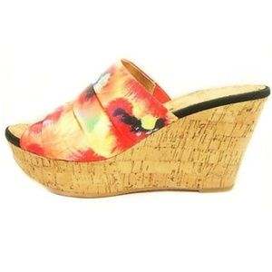 Nine West Bright Floral Cork Wedge Sandals